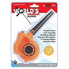 Best-selling World's Smallest Blower is a great desktop accessory for any gardening junkie Great for cleaning keyboards Extra long cable Plugs into USB port or charging adapter For ages 5 and up