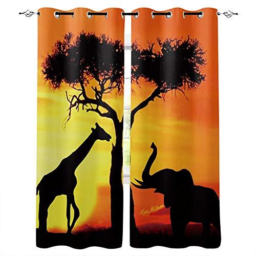 LWXBJX Cortinas Opacas Dormitorio Termicas - Puesta de sol árboles elefante jirafa - Impresión 3D Aislantes de Frío y Calor 90% Opacas Cortinas - 264 x 240 cm - Salon Cocina Habitacion Niño Moderna De