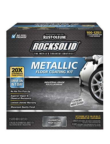 Rust-Oleum 299743 RockSolid Metallic Garage Floor Coating Kit, 70 fl oz, Gunmetal, 70 Fl. Oz