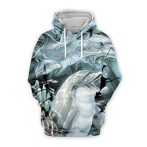 yyqx container 3D Sweatshirt Hoodie Dolfijn 3D Gedrukt Losse Truien met Trekkoord Mode Voorste Pakket Lange Mouwen Koppels Zachte Hoodies Sweatshirts