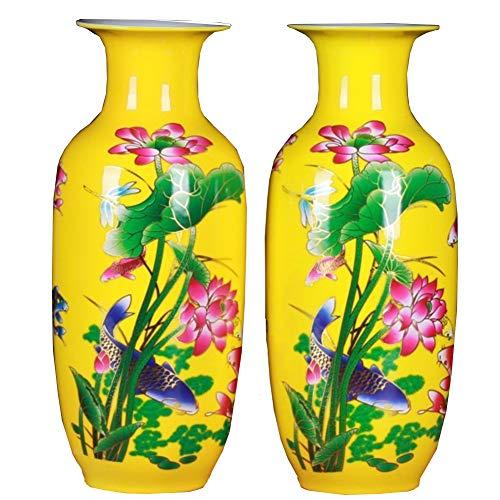 J.Mmiyi Keramik Bodenvase Blumenvase Lotus Und Goldenes Drachenfischmuster Handgefertigte Dekorative Vase Für Hause, Höhe 14.56