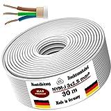 Feuchtraumkabel Stromkabel 5, 10, 15, 20, 25, 30, 35, 40, 50, 75, 80, oder 100m Mantelleitung NYM-J 3x1,5 mm² Elektrokabel Ring für feste Verlegung (30m)