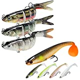 TRUSCEND Fishing Lures for Bass Trout 5.4' Multi Jointed Swimbaits & 3.5' Paddle Tails Swimbaits Swimming Lures Bass Freshwater Saltwater Bass Fishing Lures Kit Lifelike