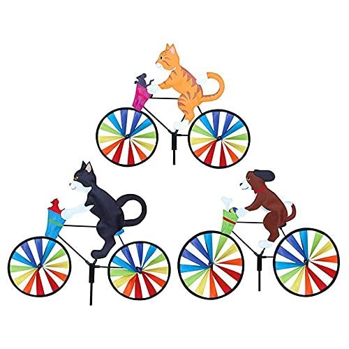 MZSM Windmill Jardín, Animales 3D Arco Iris Molino de Viento Ornament, Cartoon Bike Spinner, Bicicleta, Bicicleta, Viento Spinner Pinwheel Jardín Decoración (Gato Amarillo + Gato Negro + Perro)