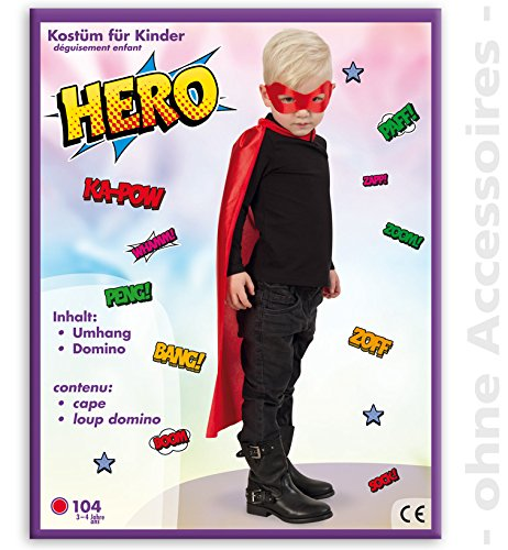 Party-Chic- Disfraz para nios  Red Hero  Capa con mscara  Talla 104-116, Color Rojo, 104 (Fritz Fries & Shne GmbH 15475)