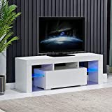 4HOMART TV Stand with Lights,High Gloss LED TV Stand with Storage & Drawer Minimalist TV Console with Cabinet, Entertainment Center for 43/50/55 Inch TV Living Room Furniture