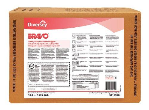 DIVERSEY 95115958 Series Bravo Heavy-Duty Low-Odor Floor Stripper, 5 Gallon Box-2480492, 5 Gallon
