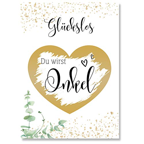 Rubbelkarte (Du wirst Onkel) um Schwangerschaft zu verkünden - Goldene Karte als Überraschung - Rubellose als Geschenkidee für den Onkel - Glückslos für aufregende Momente