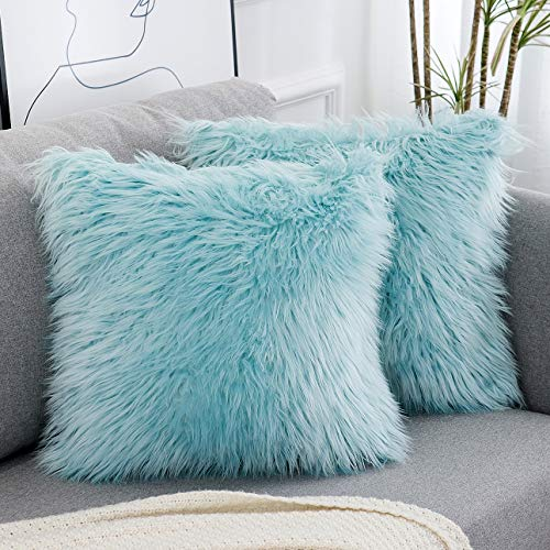 WLNUI Decorative Light Blue Fluffy Pillow Covers New Luxury Series Merino Style Faux Fur Throw Pillow Covers Fuzzy Cushion Cover 18x18 Inches 45x45 cm