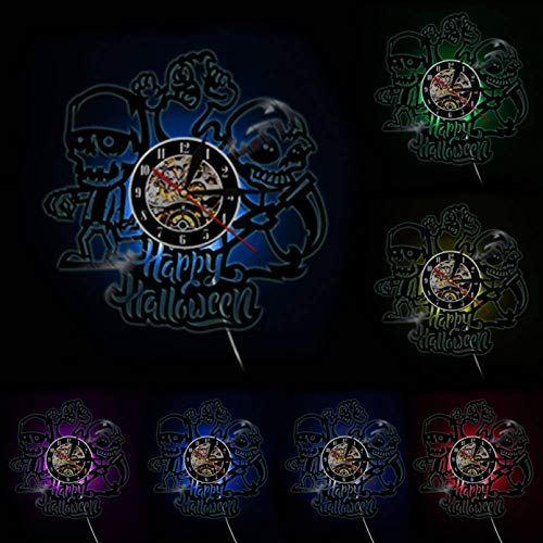 llvvv Feliz Halloween Disco de Vinilo Arte Adornos navideños Calaveras Esqueleto Reloj de Pared gótico Horror Decorativo