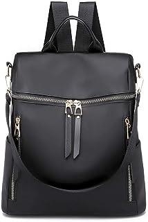 XHHWZB Fashion Stitching Nylon Backpack Korean Version of The Multi-Function Handbag Large Capacity Outdoor Travel Bag (Color : Black)