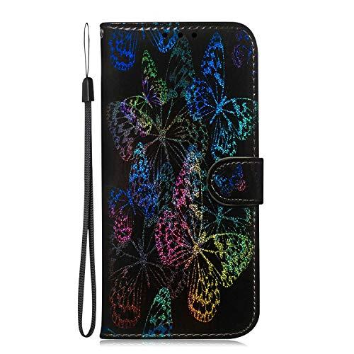 Handyhülle für Xiaomi Redmi Note 8 Pro Hülle Glänzend Glitzern Bunt Gemustert Flip Case PU Leder Cover Magnet Schutzhülle Tasche Ständer, Bunte Schmetterlinge