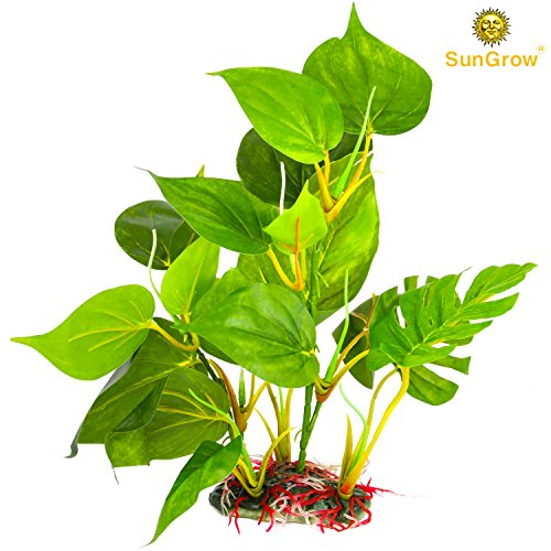 "Plastic Leaf Plant for Freshwater or Marine Tanks, 10"" Ultra-Realistic Fake plant, Blunt Leaf Edges Protect Fish Fins, Hiding spot for Fish, Reptiles, Amphibians & Looks perfect in 10 gal tank"