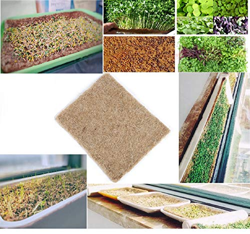 "SUCOHANS 12 Hydroponic Grow Pads - Hemp Grow Mat - Perfect for Microgreens, Wheatgrass, Sprouts - (Fits Standard 10"" X 20"" Germination Tray) - Environmentally Friendly, Fully Biodegradable"