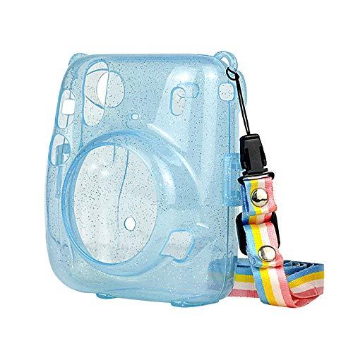 Kamera-Taschen Hülle für Instax Mini 11 Camera Schutzhülle, Sofortbildkamera, PVC Transparent Compact Schutztasche Kompaktkamera-Taschen mit Schultergurt & Tasche (Blue)