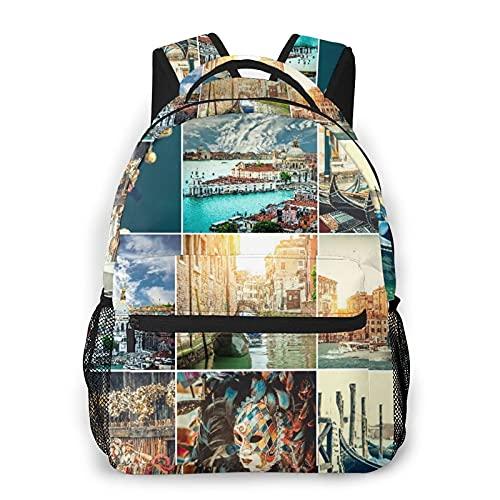 CVSANALA Multifuncional Casual Mochila,Collage de fotos de canales, góndolas y portada de Venecia,Paquete de Hombro Doble Bolsa de Deporte de Viaje Computadoras Portátiles