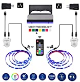 LED Strip Lights, Topled 6.56ft Bed Light LED Strip with Motion Sensor RGB LED Light Strip, 5050 LED Tape Lights, Color Changing Night Light with RF Remote for Home Kitchen Bar and Indoor Decoration