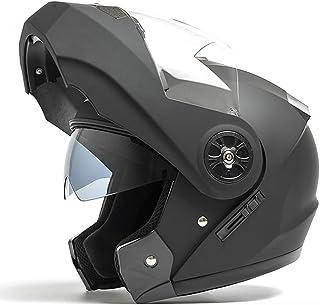 Desconocido Casco integral de motocicleta de doble visera Modular Flip Up Sun Shield Cascos de moto Cascos modulares para ...