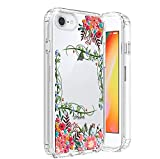 HUIYCUU Compatible with iPhone SE2 SE 2020 for iPhone 8 iPhone 7 Case, Shockproof Anti-Slip Cute Glitter Sparkle Flower Clear Design Pattern Slim Crystal Soft Bumper Girl Women Cover, Blossoms Leaf