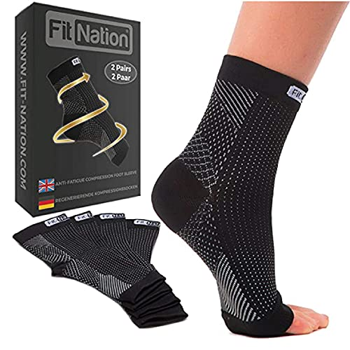 FIT NATION Toeless Plantar Fasciitis Compression Socks For Men and Women -...