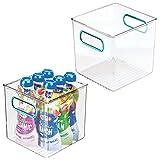 mDesign Juego de 2 cestas organizadoras para la cocina – Caja de plástico para el frigorífico...