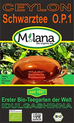 1 kg Milana CEYLON Premium BIO-SCHWARZTEE OP1 - lose Blätter, schwarzer Tee Orange Pekoe-1, 55 Prozent des Verkaufspreises ist SOZIALE HILFSLEISTUNG - Der Tee, ... der nach Liebe schmeckt...