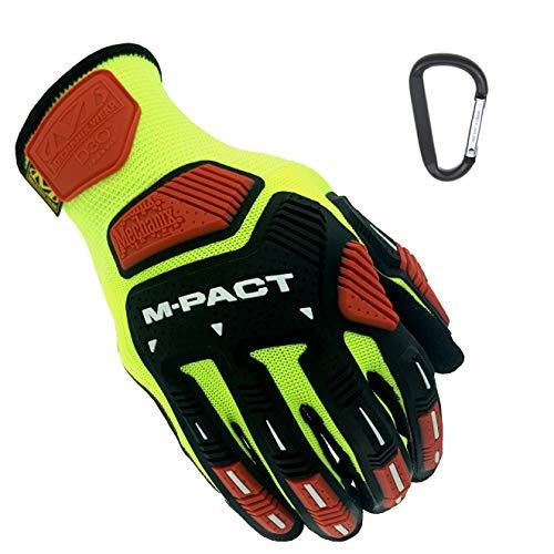 Mechanix CR3 M-Pact Knit, robuste Arbeitshandschuhe mit Schnittschutz A3, D3O Stoßschutz, Vibrationsschutz & Fingerschutz + Gear-Karabiner (Large)