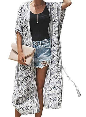 Aleumdr Damen Strandkleid Lange Sommer Boho Strand Kimono Cardigan Oversize Bluse Blumen Tops Bikini Cover Ups Übergroß Strickjacke Outwear Weiß One Size