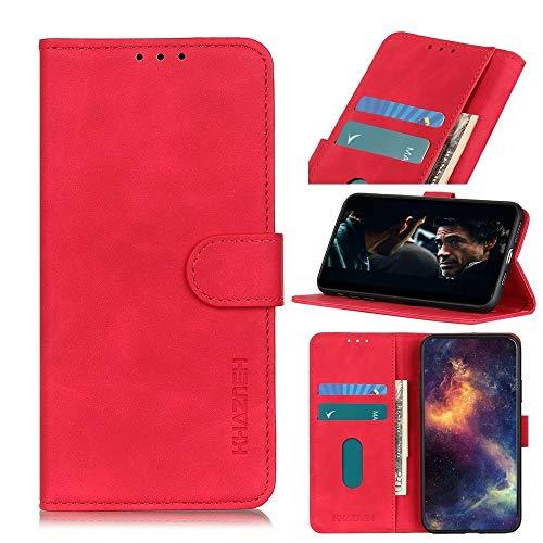 Funda para Motorola Moto One Fusion Plus KHAZNEH Retro textura PU + TPU horizontal Flip Funda de piel con soporte y ranuras para tarjetas y cartera hangma (color: rojo)