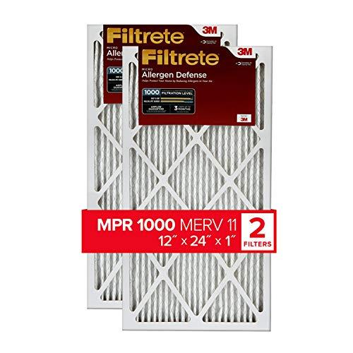 Filtrete 12x24x1, AC Furnace Air Filter, MPR 1000, Micro Allergen Defense, 2-Pack (exact dimensions 11.719 x 23.72 x 0.85)