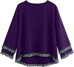 Women's Fashion Casual Three Quarters Sleeve O-Neck Lace Party Pullover Sweatshirt T-Shirt Tops Blouses (S-5XL)