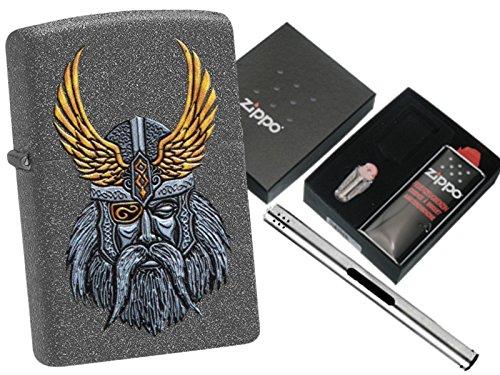Zippo Odin Head Geschenkset und L.B Chrome Stabfeuerzeug
