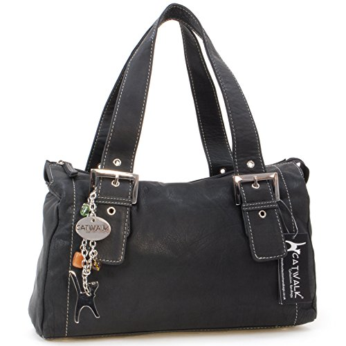 Catwalk Collection Handbags - Vera Pelle - Borsa a Spalla/Borse a Mano - Con Ciondolo a Forma di Gatto - Jane - NERO