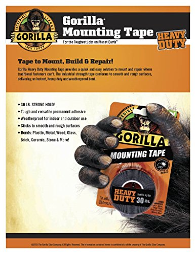 "Gorilla Heavy Duty Double Sided Mounting Tape, 1"" x 60"", Black, (Pack of 4)"