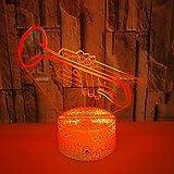 Led Deko 7 Farbe Farbe Trompete 3D Nachtlicht Kreative Musicals Instrument Tischlampe Room Decor Weihnachten Weihnachtsgeschenk Spielzeug Mit fernbedienung