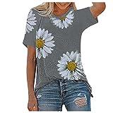 Camiseta de verano con estampado de margarita, de manga corta para mujer, de verano, sexy, elegante, cuello redondo, sólido, holgado., gris, S además de su talla