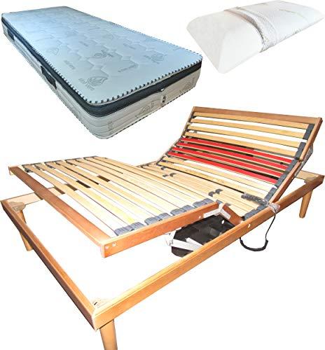SARDAMATERASSI Juego de cama de láminas eléctricas de una plaza y media, 120 x 190 cm + colchón Memory de 22 cm + almohada de espuma viscoelástica de regalo H13