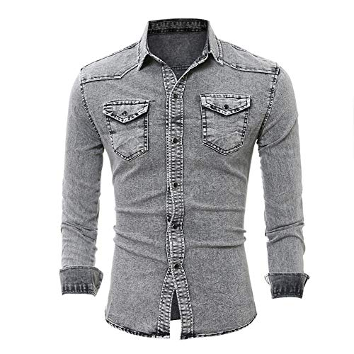 Camicia da Uomo Slim Fit Manica Lunga Casual Snap Denim Shirt Top Camicie da Uomo Tempo Libero Moda Autunno Top Slim-Fit Basic Denim Shirt M