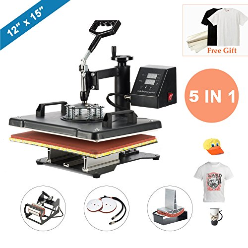 CO-Z 12'x15' Black 5 in 1 360 Degree Swivel Heat Press Machine Multifunction Sublimation Combo T Shirt Press Machine for Mug Hat Plate Cap Mouse Pad