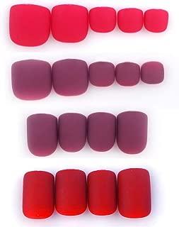 SIUSIO 96Pcs Colorful Fake Nails Full Cover Hand and Foot, Matte Top Coat Covered False Gel Nails Art Tips Set (Red Brown Sensual Series)