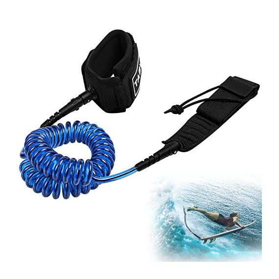 Tagvo Sup Leash Coiled 10' Super Strong 7mm Cord with Waterproof Waist Pouch, Comfortable Padded Neoprene Ankle Cuff… 4 SUPER SAFETY: coiling design eliminates the SUP leash dragging in water and avoids snagging submerged objects to protect you from falling off the board. when you wipe out, the flexible leash can be easily extended to Max 10 feet. SUPER COMFORTABLE: the ankle cuff of this body board leash is made of soft padded neoprene material, extremely comfortable; suitable for all ankle size from 1 to 14 inches; a nylon ring is added on the cuff for easy releasing. SUPER STRONG: 7mm TPU polyurethane code makes this board leash sturdy and strong enough for surfing even with huge surge, although a little heave to 0.55lb.