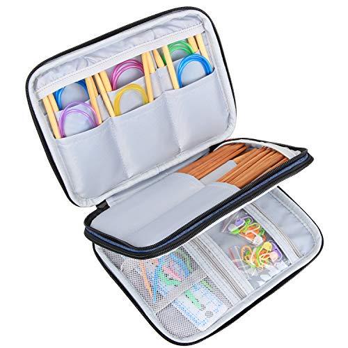 Luxja Stricknadeln Tasche (bis zu 8 Zoll), Organizer Tasche für Rundstricknadeln, 8 Zoll Stricknadeln und anderes Zubehör für Zuhause und Reisen (Keine Zubehör enthalten), Dunkel Blau