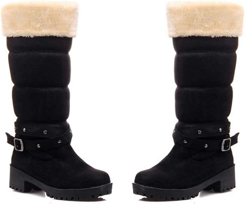BeautyOriginal Winter Warm Snow Boots for Women Suede Buckle Mid Calf Boots