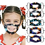𝙈𝙖𝙨𝙘𝙖𝙧𝙞𝙡𝙡𝙖𝙨 Niño Reutilizables Pañuelos y Lavable con banda Elástico para al Aire Libre 5PC sordo mudo labios labio color sólido transparente (F)