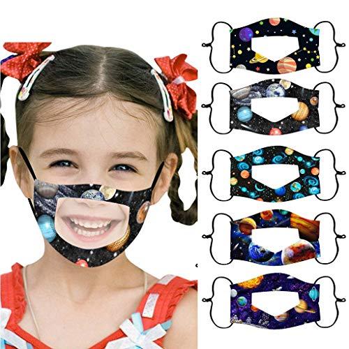 Snlaevx 5 Pezzi di Copertura per Il Viso per Bambini con Finestra Trasparente, Espressione visibile di Protezione del Viso Stampata a Cartoni Animati per sordi Muti