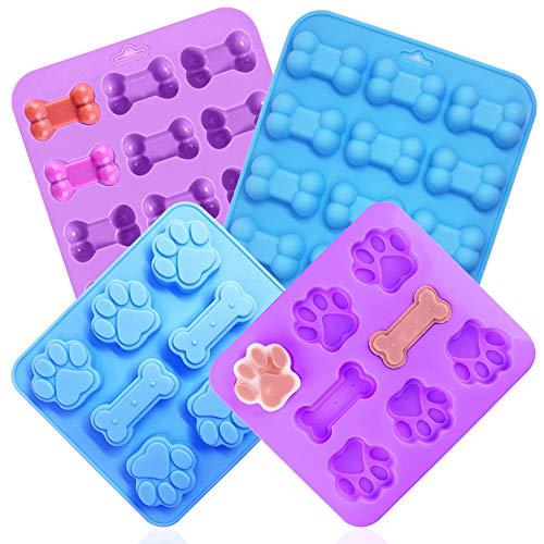 YuCool Silikonform für Eiswürfel mit Pfoten- und Knochenmotiv, für Schokolade, Cupcakes, Süßigkeiten, Gelee, Eiswürfel, Leckerlis, Blau, Violett, 4 Stück