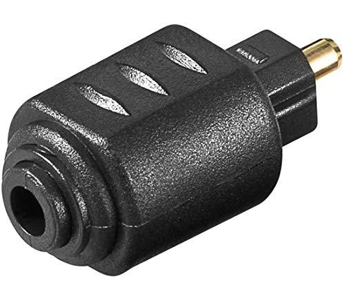 PremiumCord Optischer Adapter Toslink, TOS 3,5mm Buchse - TOS Stecker, Vergoldet, Farbe Schwarz