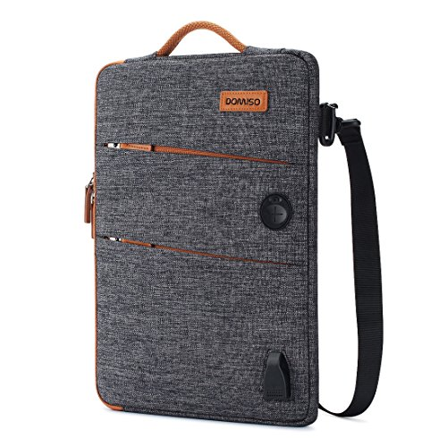 DOMISO 14 Inch Waterproof Laptop Bag Canvas with USB Charging Port Headphone Hole for 14 Laptops / Apple / Acer Chromebook 14 / HP Pavilion 14 Stream 14 / Lenovo / Dell / MSI , Dark Grey