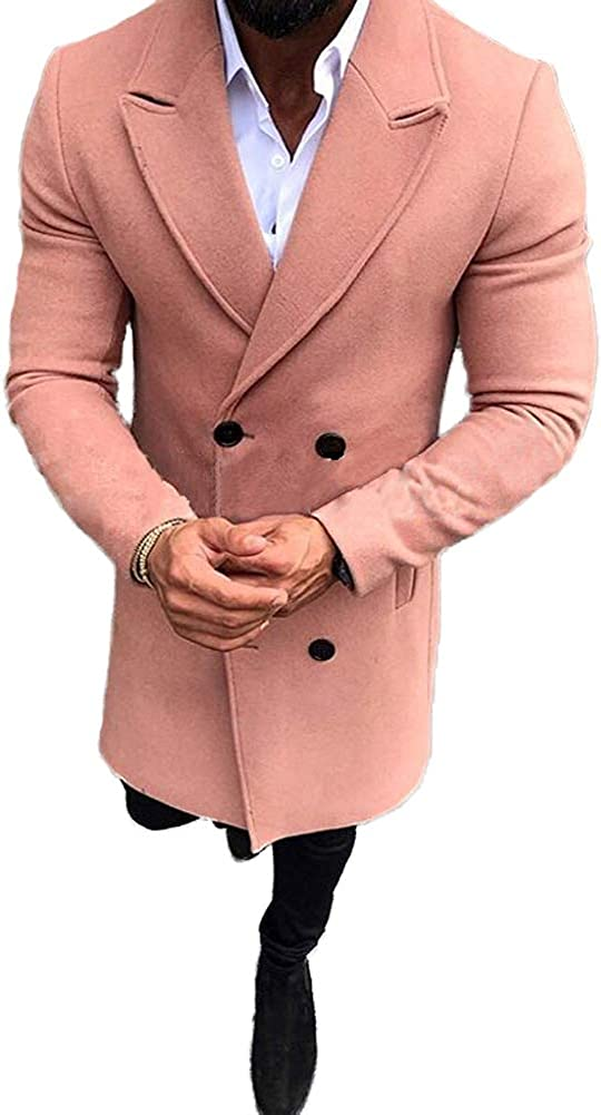 lookwoild Mens Long Double Breasted Trench Coat Gentlemen Formal Wear Jacket Overcoat Outfits Pea Coats (Pink, M)