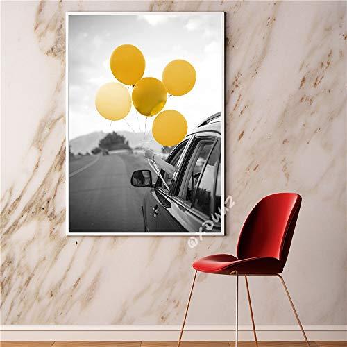 Preisvergleich Produktbild wtnhz Kein Rahmen Auto Ballon großen Berg modernen Design-Stil Wandkunst Dekoration Poster hochwertige Leinwand Malerei Bar Café Dekoration